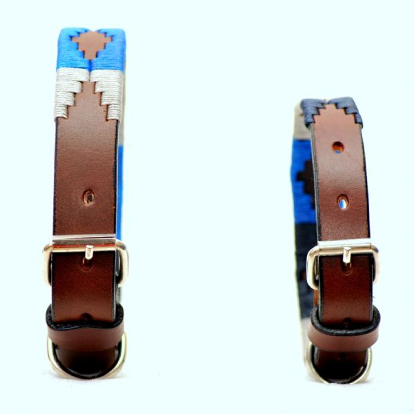 Dog Collar Electric Blue/Silver/Navy 2cm